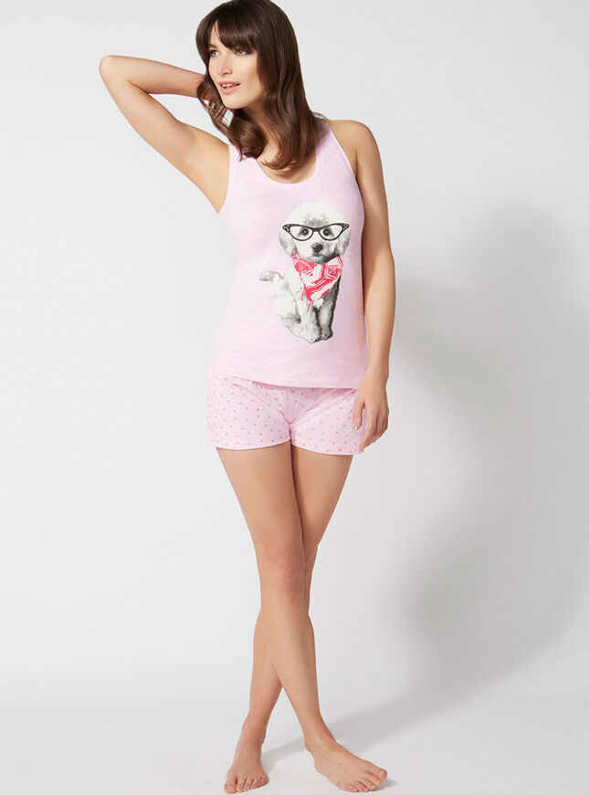 Betty dog vest and shorts pyjamas