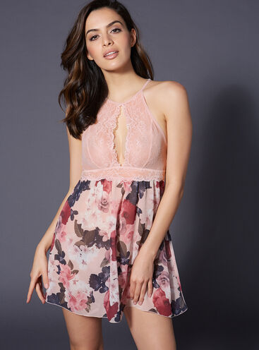 Spring floral chiffon chemise