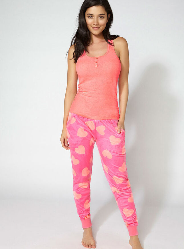 Minky heart fleece pants