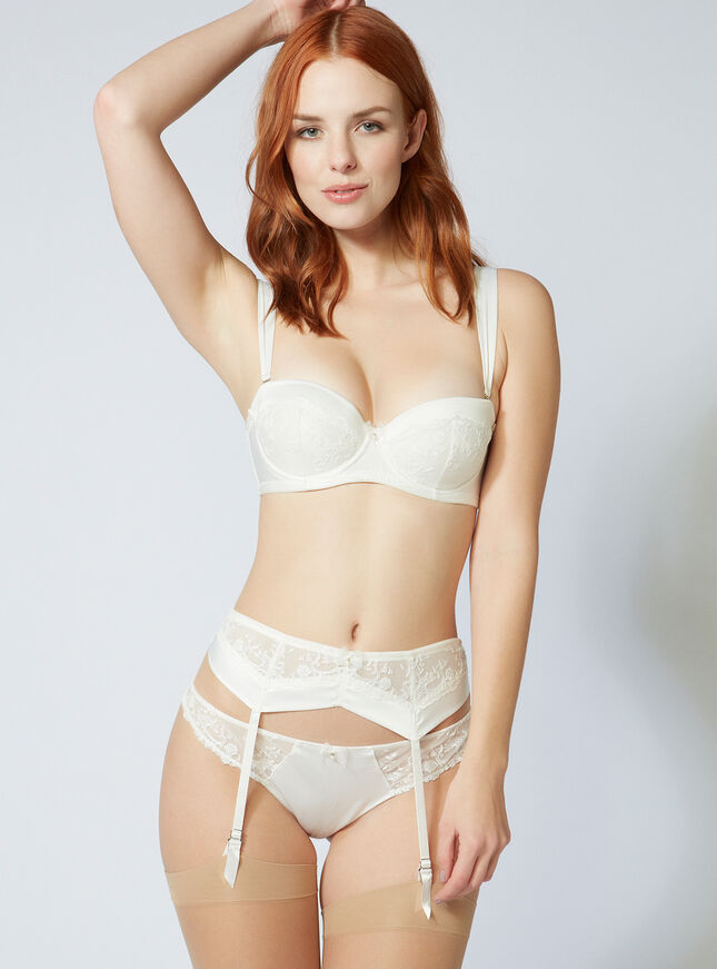 Angelina satin suspender belt