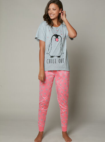 Penguin tee and minky pants set