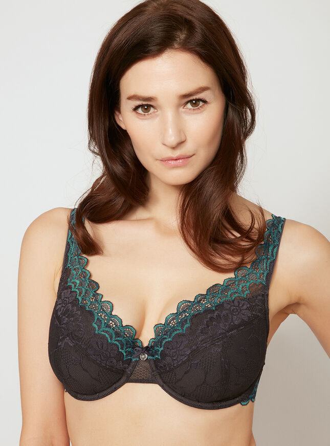 Scallop full support plunge bra