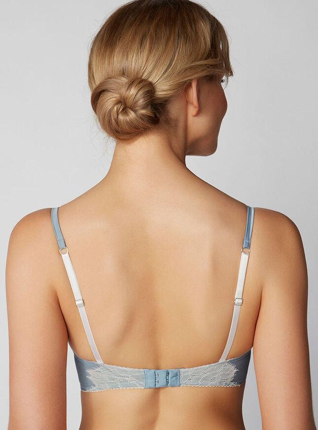 Gwyneth lace and satin plunge bra