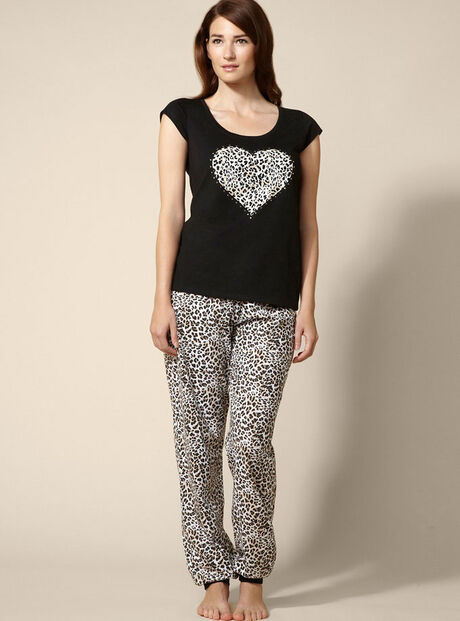 Animal print heart tee and pants pyjamas