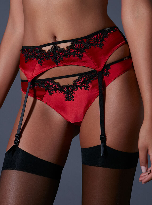 Kayleigh satin suspender belt