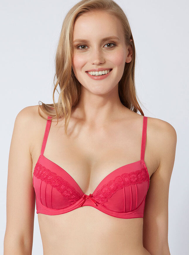 Tara pleated plunge bra