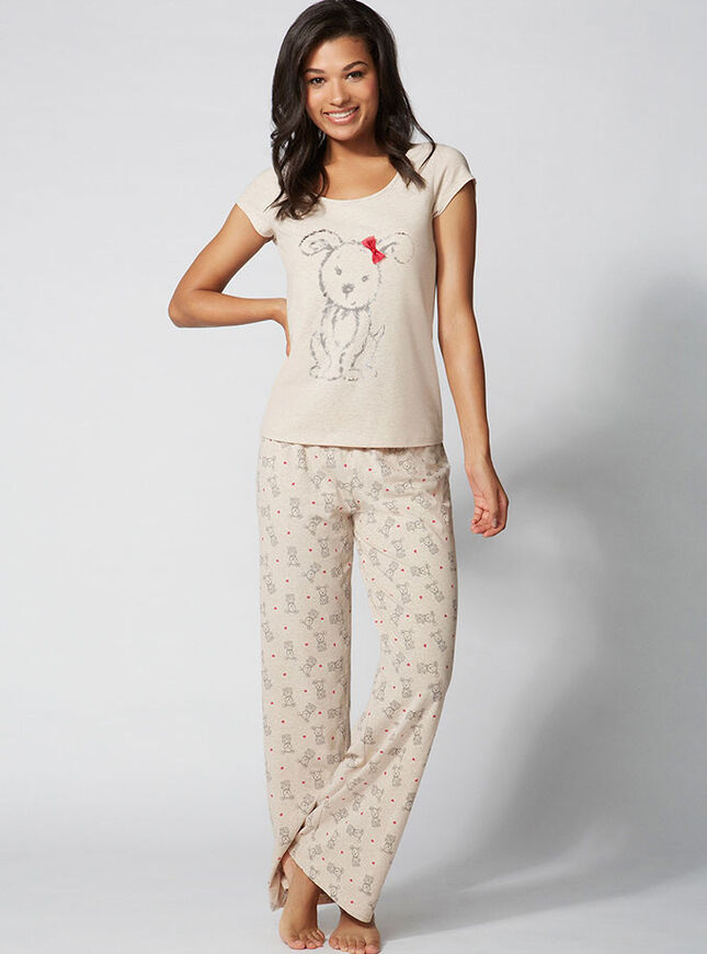 Sketchy puppy tee and pants set
