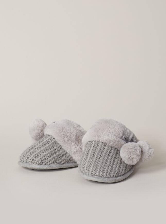 Knitted pom pom mules
