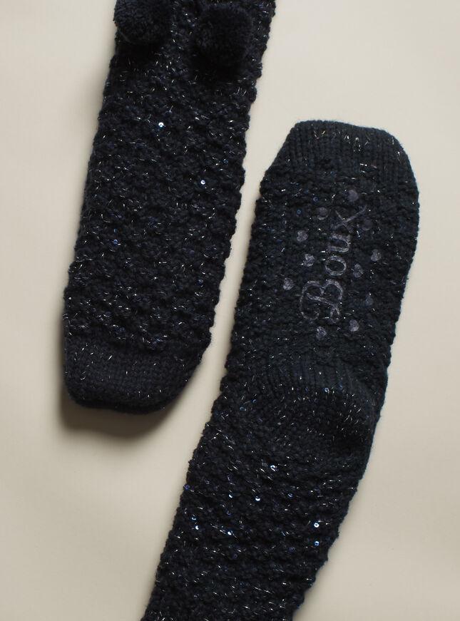 Sequin pom pom socks