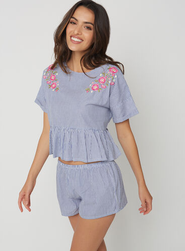 Prairie peplum tee and shorts set