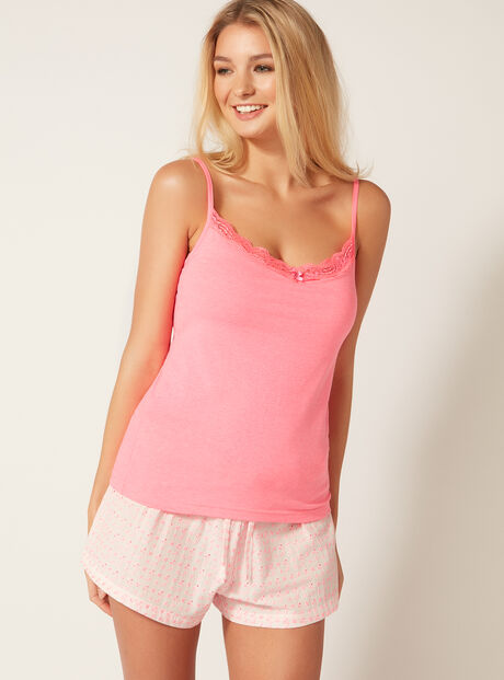 Secret support camisole and broderie shorts set