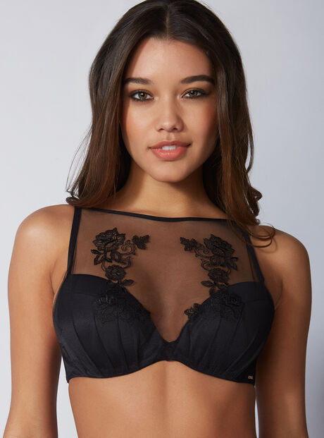 Bettie embroidered high front plunge bra