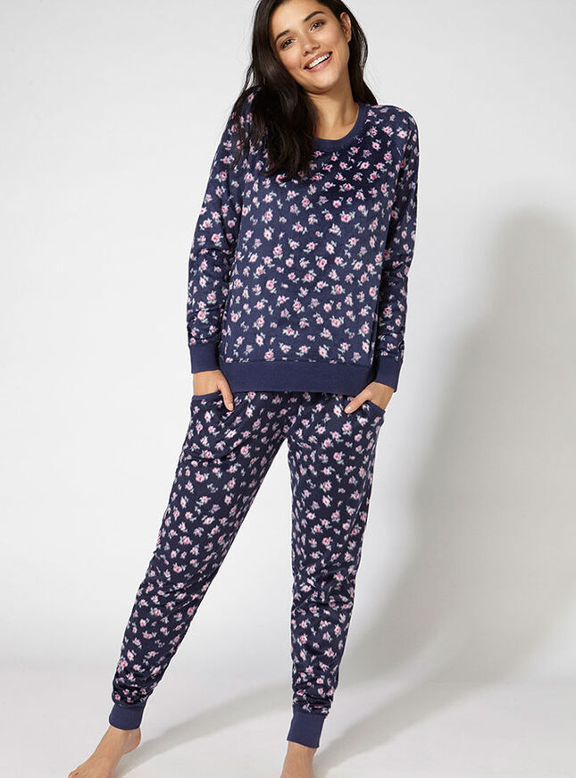 Minky floral fleece pants