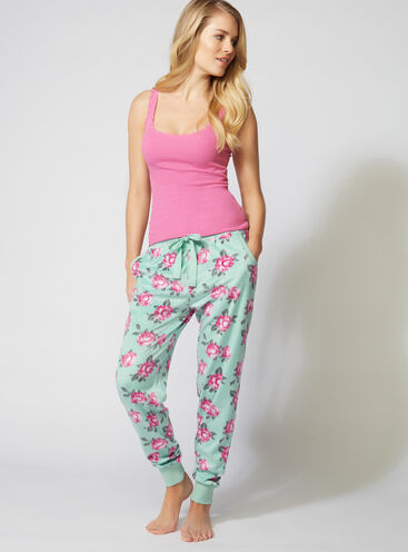 Minky vintage floral fleece pants