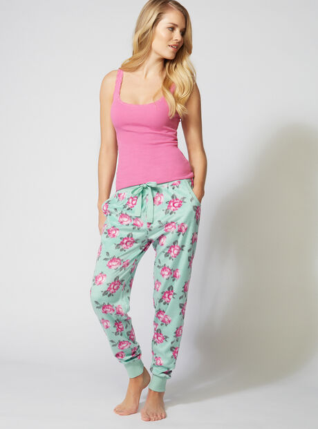 Minky vintage floral fleece pants