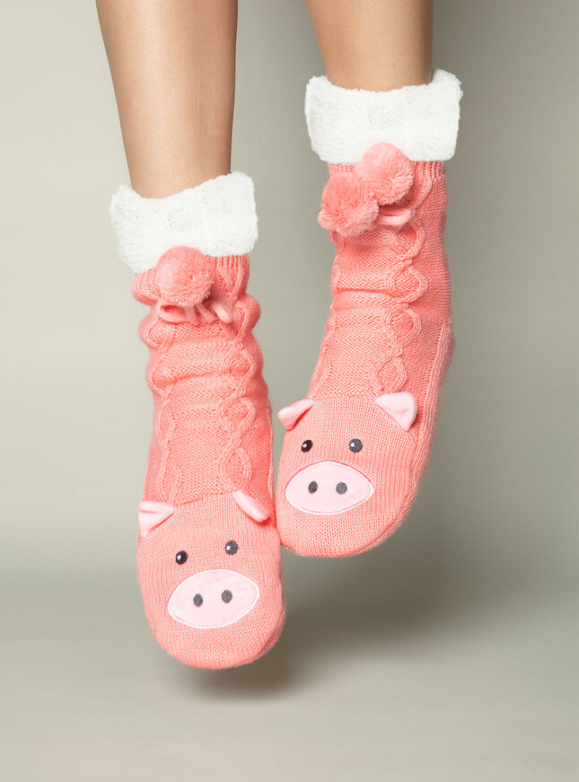 Pig cable knit socks