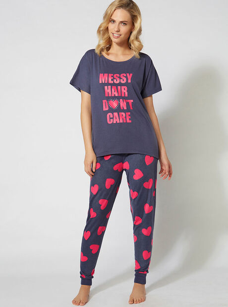 """Messy hair don't care"" pyjama set"