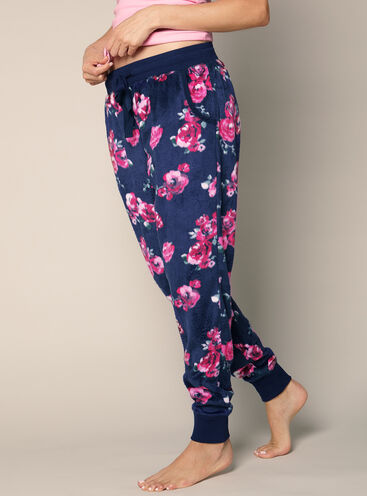 Floral minky fleece pants