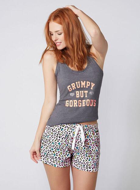 """Grumpy but gorgeous"" vest and shorts set"