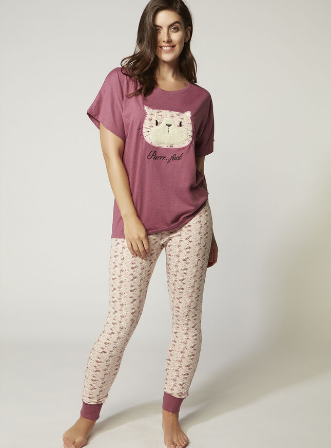Applique cat tee and leggings set