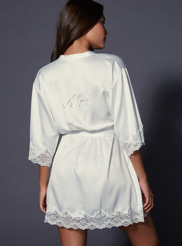 """Mrs"" satin and lace robe"