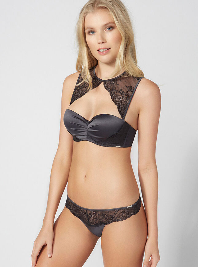 Tabitha lace and satin thong