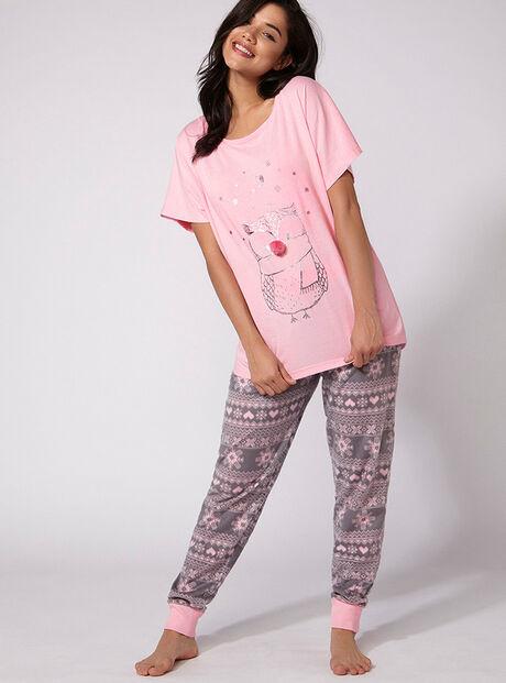 Owl tee and pants pyjama set