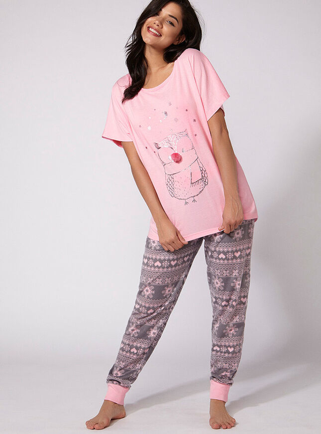 Owl tee and pants pyjama set