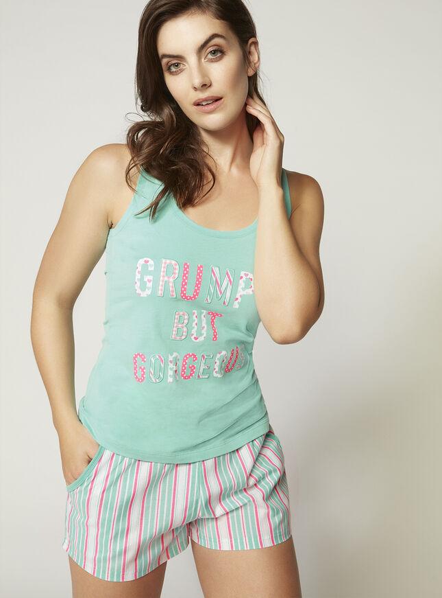 """Grumpy but gorgeous"" vest and shorts pyjama set"