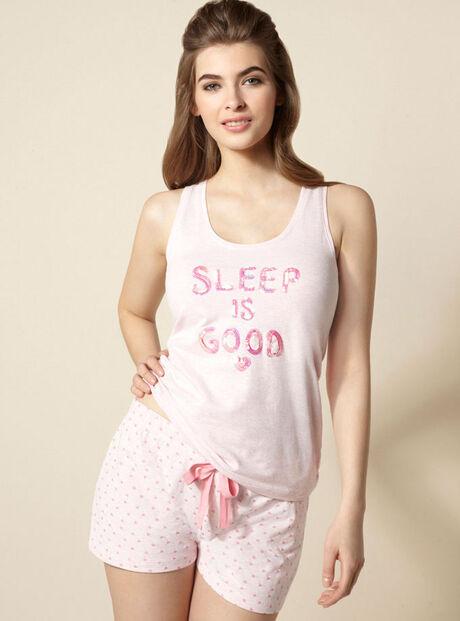 """Sleep is good"" vest and shorts pyjamas"
