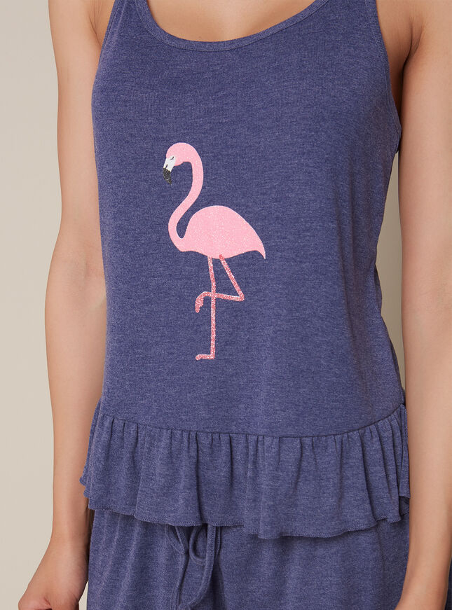 Flamingo cami and shorts pyjama set