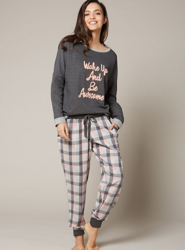 """Wake up and be awesome"" top and pants set"