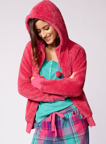Jewel bright faux fur hoody