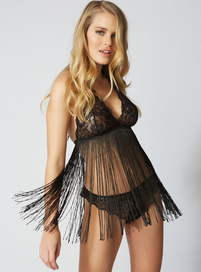 Tassel chemise and Brazilian briefs