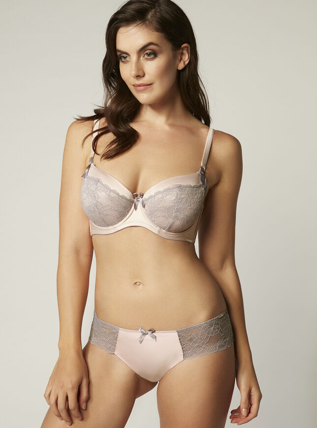 Sylvia satin and lace balconette bra