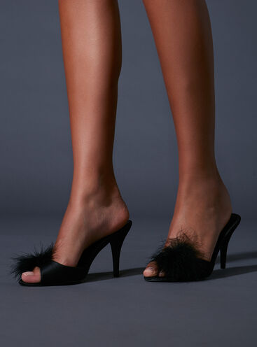Fluffy marabou stiletto mules