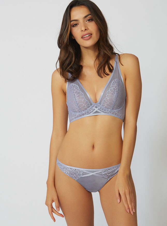 Abstract lace plunge bra