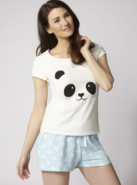 Panda tee and shorts pyjama set