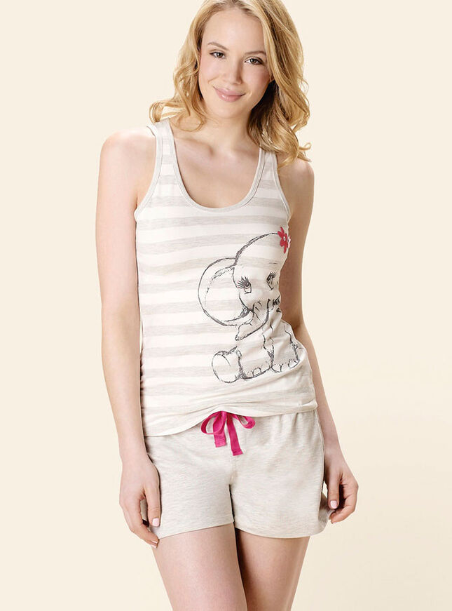 Glitter elephant vest and shorts pyjamas