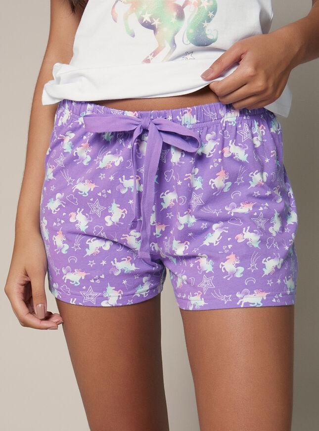 Unicorn vest and shorts pyjama set