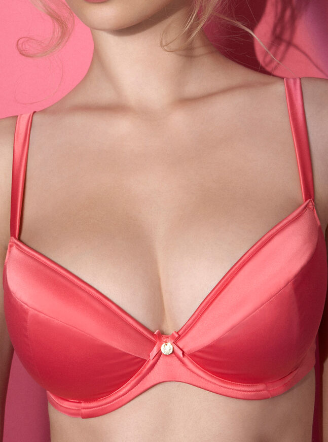 Loretta full support satin plunge bra