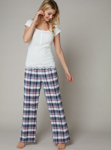 Rib tee and check pants set
