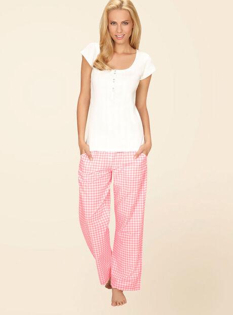 Romance tee and gingham pants pyjamas