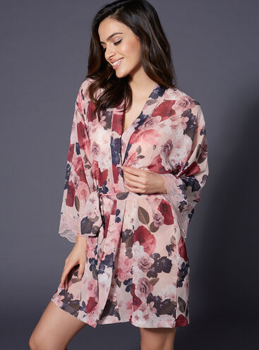Spring floral chiffon robe