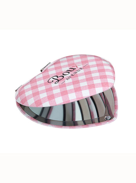 Gingham heart compact mirror