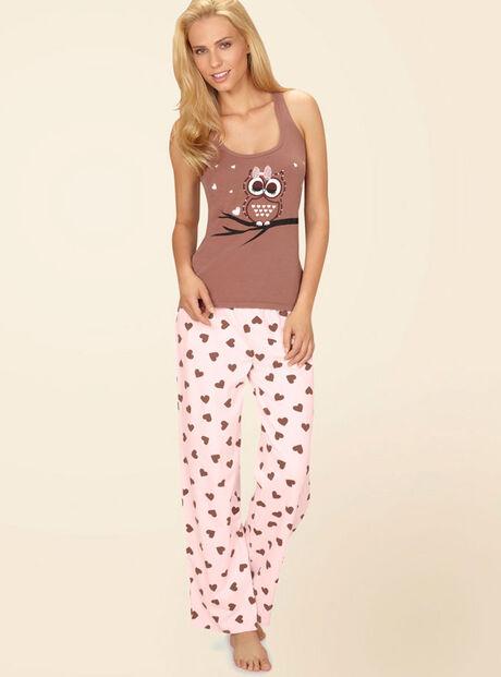 Sparkle owl vest and heart pants pyjamas