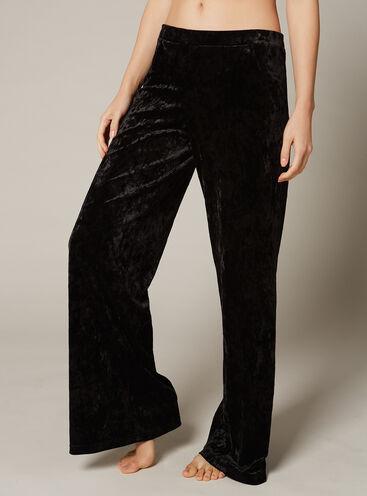 Velvet palazzo pants