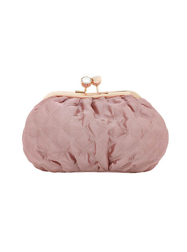 Quilted satin cosmetic bag