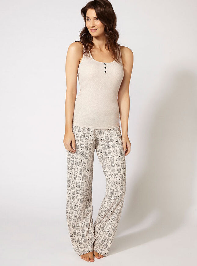 Owl vest and pants pyjama set