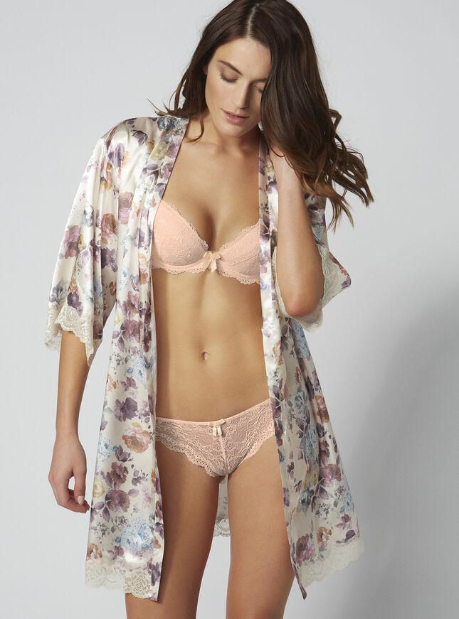 Blush rose satin kimono